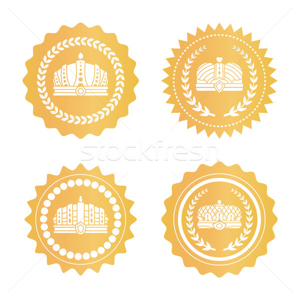 Royal Golden Stamps with Crowns and Laurel Wreath Stock photo © robuart