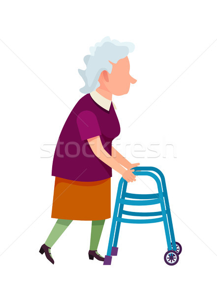 Senior Grandmother Moving with Help of Walker Stock photo © robuart