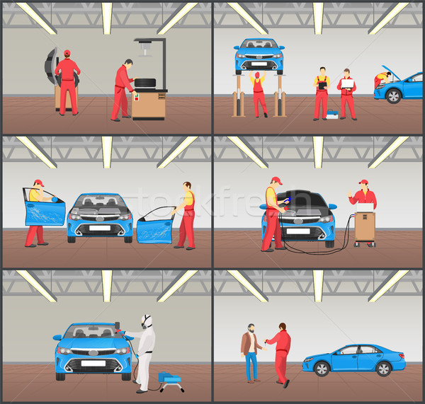 Car Maintenance Stages Set Vector Illustration Stock photo © robuart