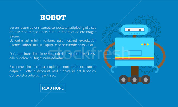 Mechanic Robot on Wheels with Blue Cubic Corpus Stock photo © robuart