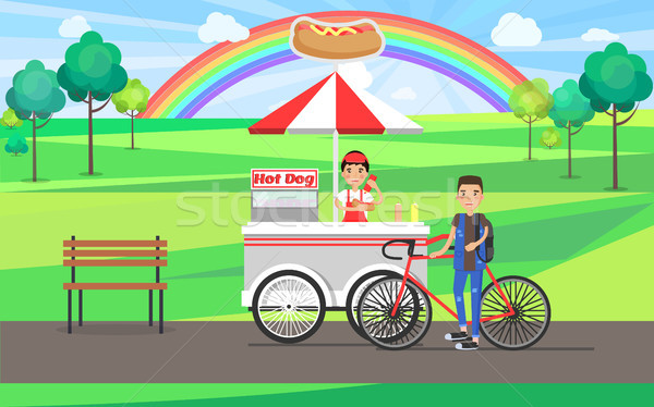 Hot dog fast food banner kleurrijk vector kaart Stockfoto © robuart