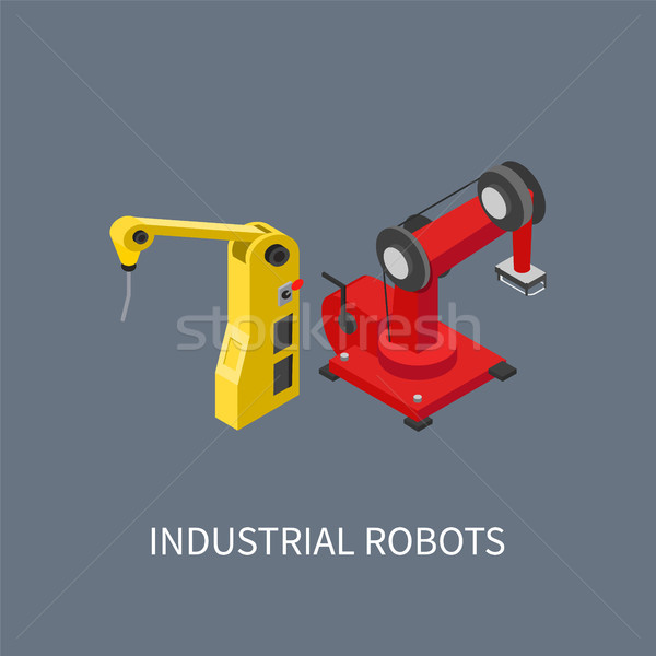 Industrial Robots Set Colorful Vector Illustration Stock photo © robuart