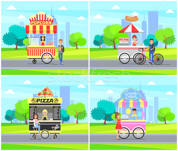 Hot Dog Pizza Street Sellers Vector Illustration Stock photo © robuart