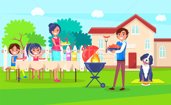 Picnic Family Relaxing House Vector Illustration Stock photo © robuart