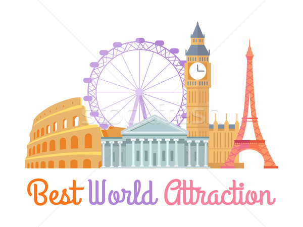 Best World Attraction Poster Vector Illustration Stock photo © robuart