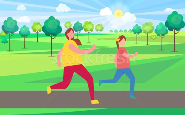 Anya lánygyermek jogging park illusztráció buja Stock fotó © robuart