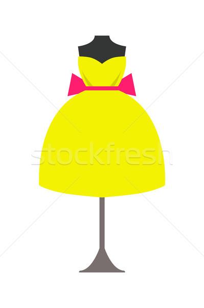 マネキン 明るい 黄色 ドレス ピンク 弓 ストックフォト © robuart
