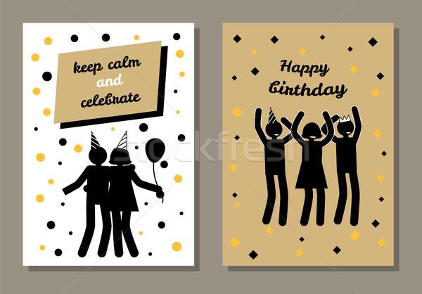 Happy Birthday, Keep Calm and Celebrate Postcard Stock photo © robuart