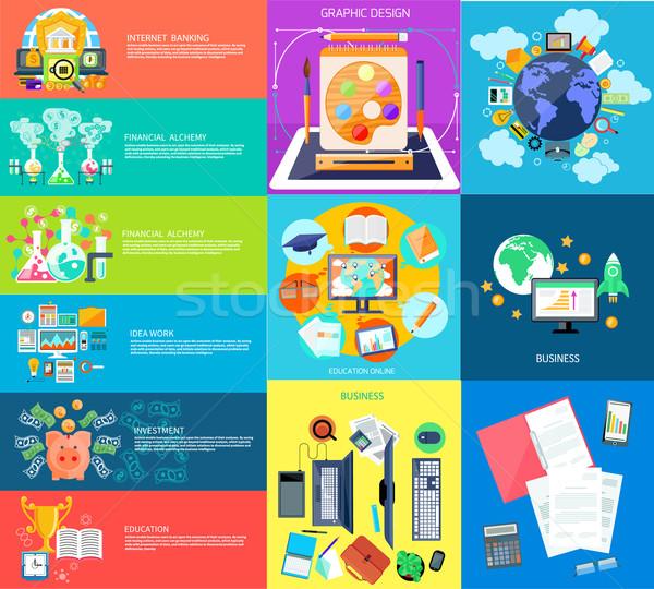 Ayarlamak iş afişler para laboratuvar simya Stok fotoğraf © robuart