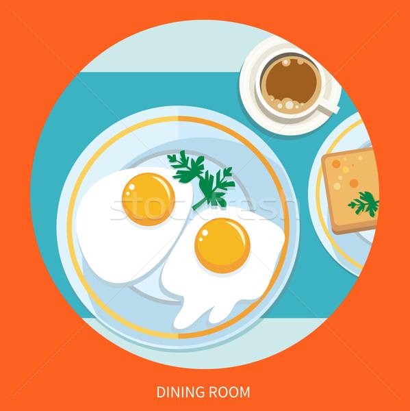 Yemek odası kahvaltı üst görmek kahve sahanda yumurta Stok fotoğraf © robuart