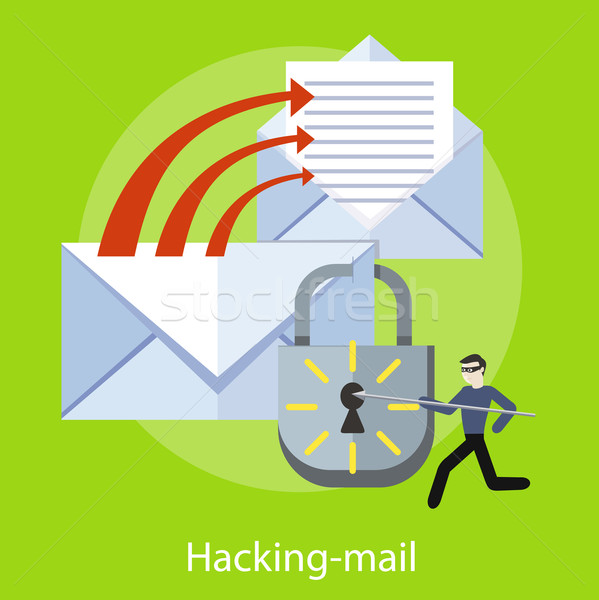 Stockfoto: Hacking · e-mail · spam · hacker · activiteit · computer