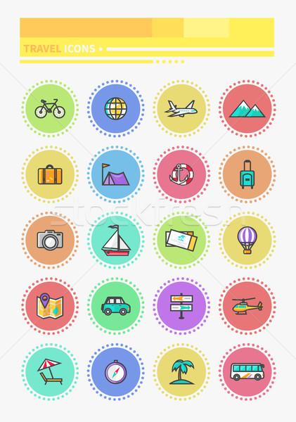 Szett vékony vonalak ikonok utazó tervez Stock fotó © robuart