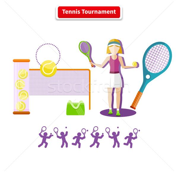 Stock fotó: Tenisz · verseny · illusztráció · sport · tétel · ikonok