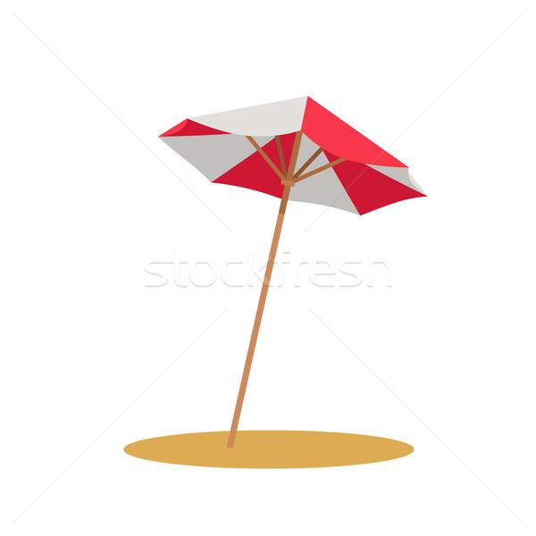 Sonnenschirm Symbol Strand rot weiß Dach Stock foto © robuart
