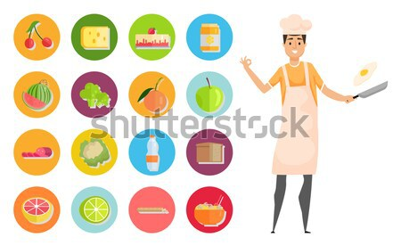 Stock photo: Sportive Man After Diet. Healthy Balanced Nutrition