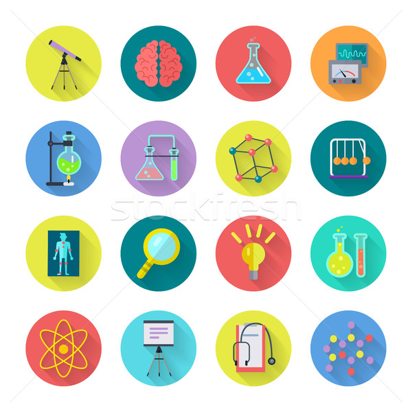 Set of Scientific Vector Icons in Flat Design  Stock photo © robuart