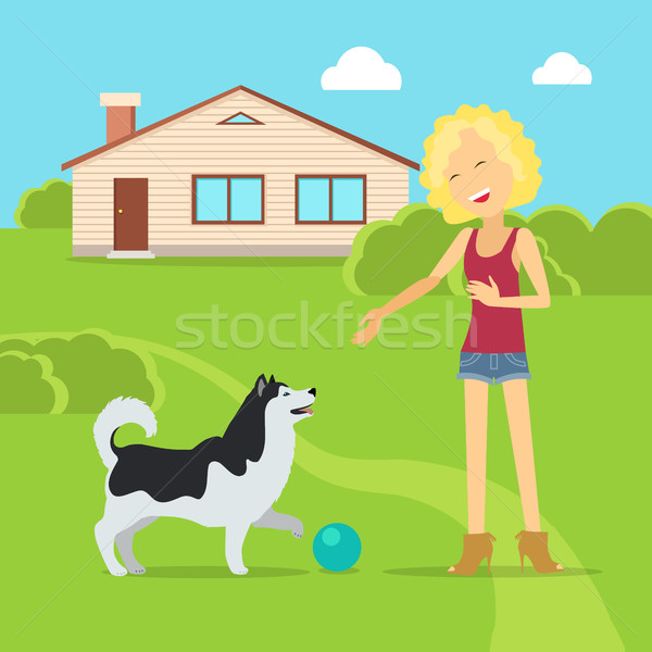 Sanguine Temperament Type Girl with Dog. Stock photo © robuart