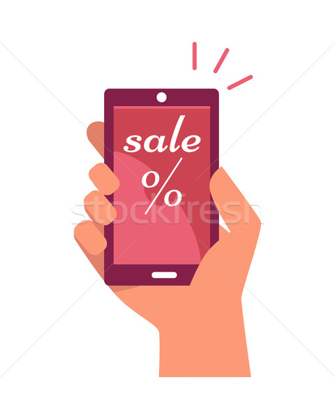 Mobile Phone in Hand with Sale and Percentage Sign Stock photo © robuart