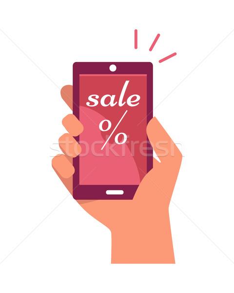 Mobiltelefon kéz vásár százalék felirat szöveg Stock fotó © robuart