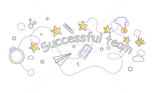 Udany zespołu banner rzeczy papieru płaszczyzny Zdjęcia stock © robuart