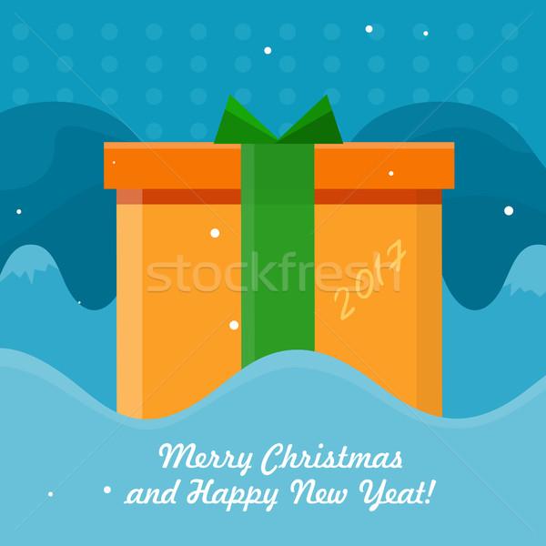 Vrolijk christmas vector ontwerp gelukkig nieuwjaar oranje Stockfoto © robuart