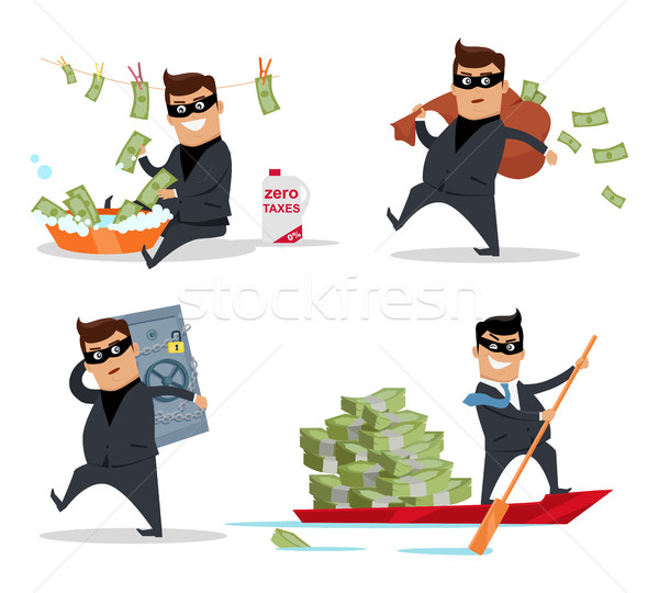 Set of Money Stealing Concepts Flat Design Vector Stock photo © robuart