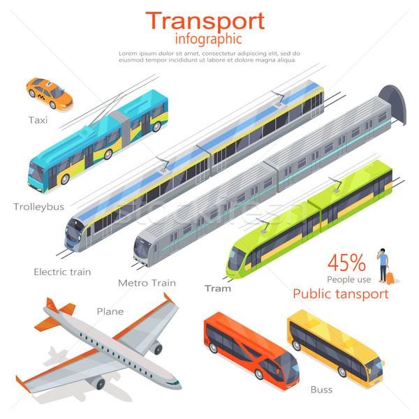 Stockfoto: Vervoer · openbaar · vervoer · vector · vliegtuig · bus