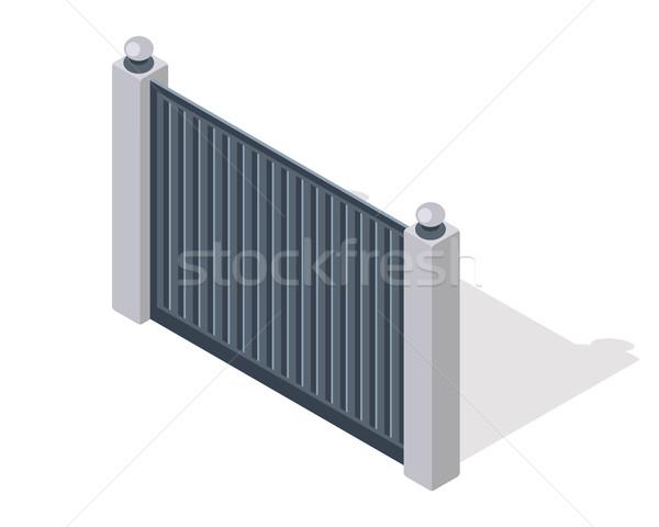 Iron Fence with Brick Columns Isolated on White Stock photo © robuart
