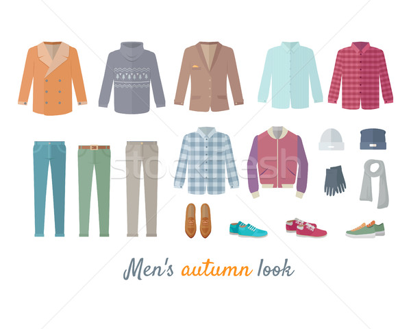 Mens Autumn Look Apparel Set. Clothing. Outerwear. Stock photo © robuart