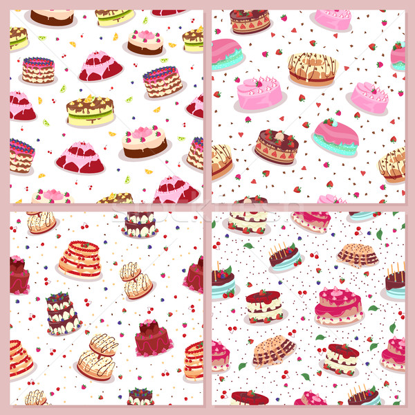 Conjunto bolos confeitaria decorado Foto stock © robuart