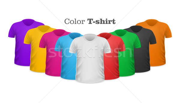Color T-shirts Front View Vector Set Isolated Stock photo © robuart