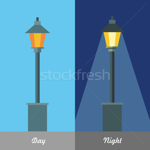 Street Light Vector Illustration at Day and Night Stock photo © robuart