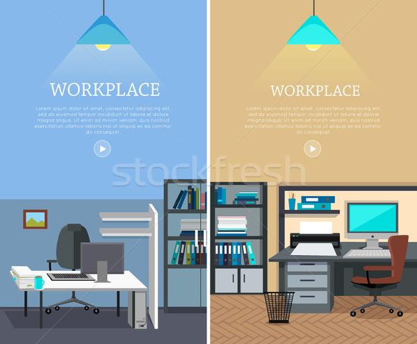 ストックフォト: セット · 職場 · ベクトル · ウェブ · バナー · デザイン