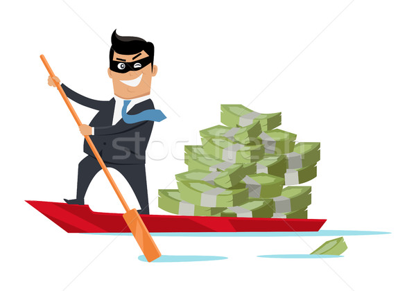 Escape With Money Concept Flat Design Vector Stock photo © robuart