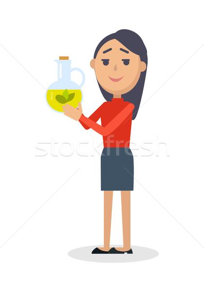 Nő üveg szűz olívaolaj vektor friss Stock fotó © robuart