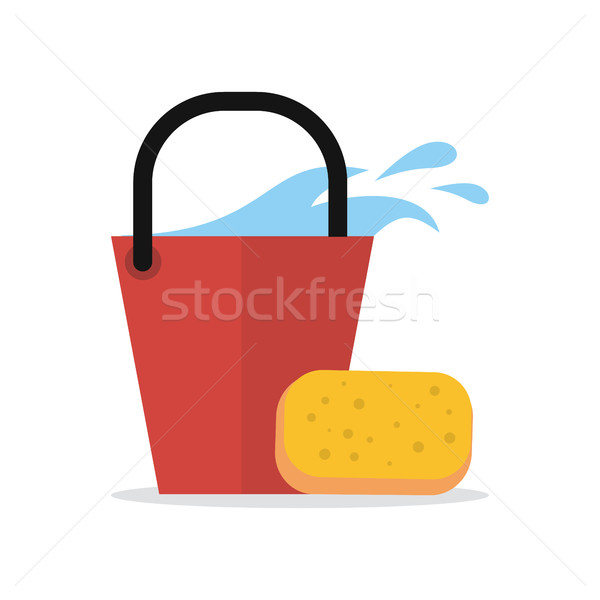 Cleaning Web Banner. Bucket with Water and Sponge Stock photo © robuart