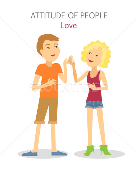 Attitude of People. Boy and Girl in Love. Vector Stock photo © robuart
