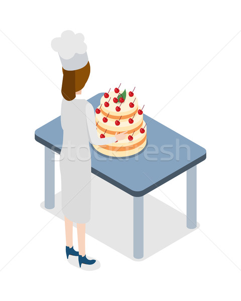 Restaurant. Confectioner Standing near Big Cake Stock photo © robuart