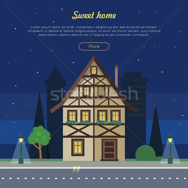 Sweet Home Flat Vector Web Banner Stock photo © robuart
