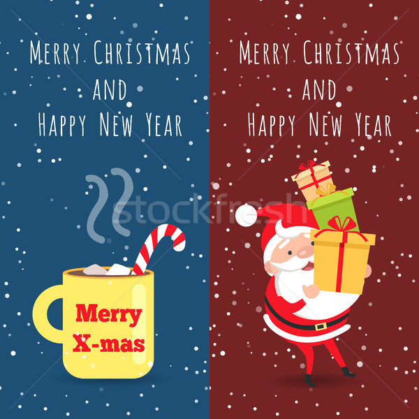 Merry Christmas and Happy New Year. Cup. Santa Stock photo © robuart