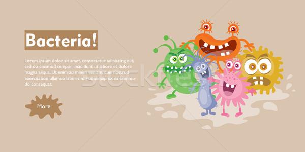 Bactérias desenho animado vetor teia bandeira grupo Foto stock © robuart