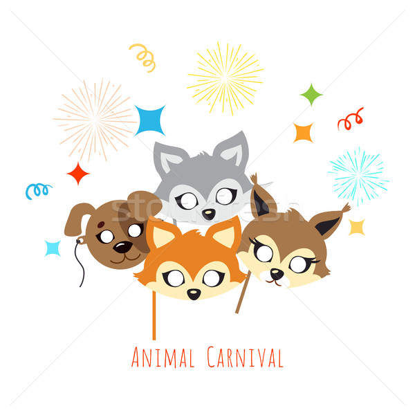 Animal Carnival. Decoration. Cartoon Masks on Face Stock photo © robuart