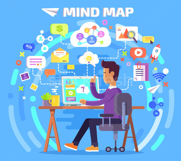 Mind Map of Character at Computer Illustration Stock photo © robuart