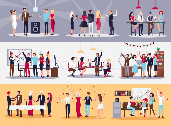 Corporate Parties Illustrations Set Stock photo © robuart