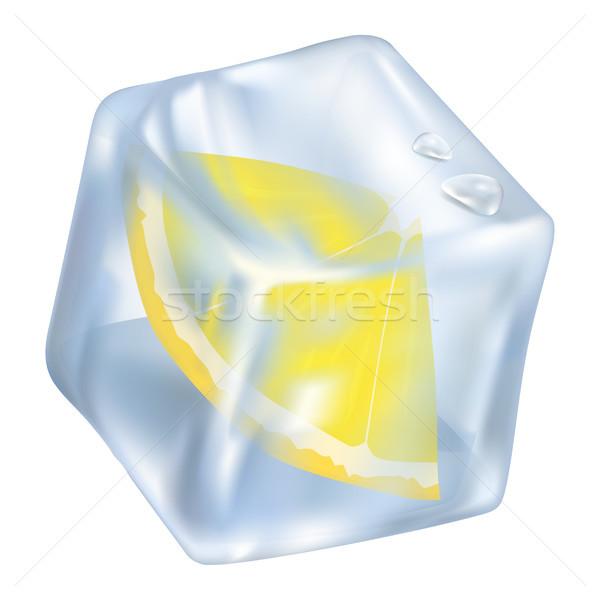 Ice Cube with Frozen Slice of Lemon Closeup Icon Stock photo © robuart