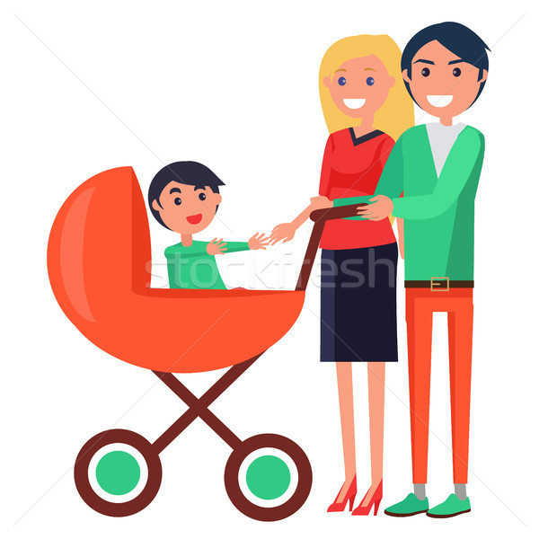 Parents Day Poster Depicting Family with Young Child Stock photo © robuart