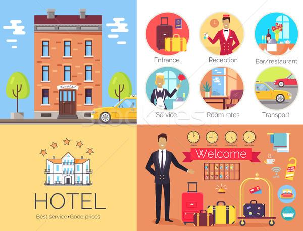 Hotel lavoro outdoor poster etichetta Foto d'archivio © robuart