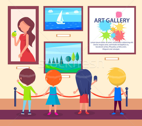 Children Visiting Art Gallery and Look at Pictures Stock photo © robuart