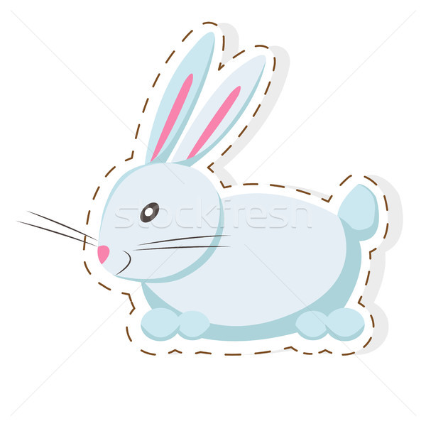 Cute Hare or Rabbit Cartoon Flat Vector Sticker Stock photo © robuart