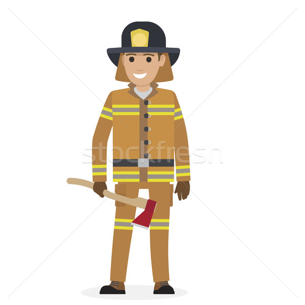 Cheerful Firefighter in Protective Suit with Ax Stock photo © robuart
